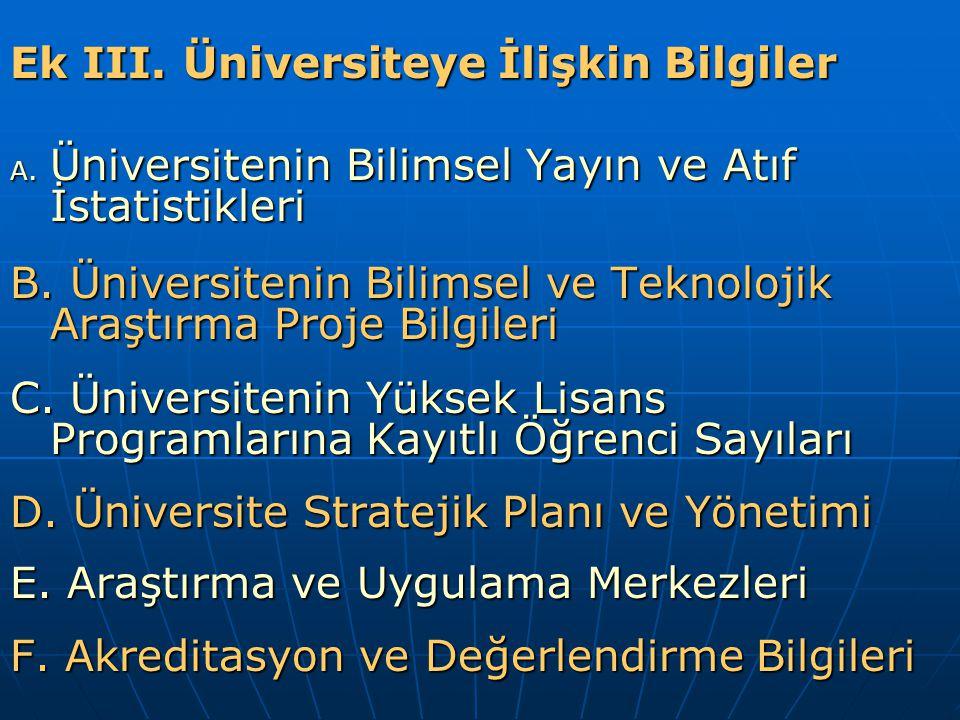 Ek III.Üniversiteye İlişkin Bilgiler A. Üniversitenin Bilimsel Yayın ve Atıf İstatistikleri B.