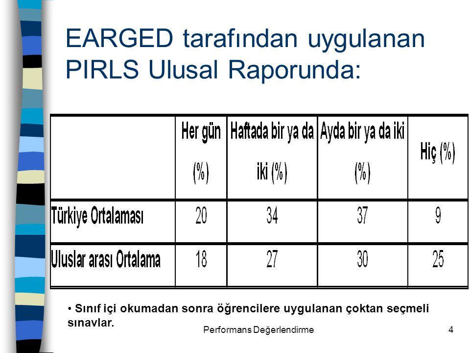 Performans Değerlendirme4 EARGED tarafından uygulanan PIRLS Ulusal Raporunda: Sınıf içi okumadan sonra öğrencilere uygulanan çoktan seçmeli sınavlar.