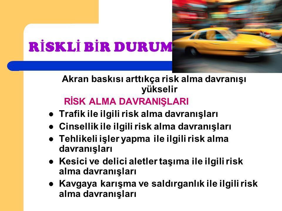 R İ SKL İ B İ R DURUM Akran baskısı arttıkça risk alma davranışı yükselir RİSK ALMA DAVRANIŞLARI Trafik ile ilgili risk alma davranışları Cinsellik il
