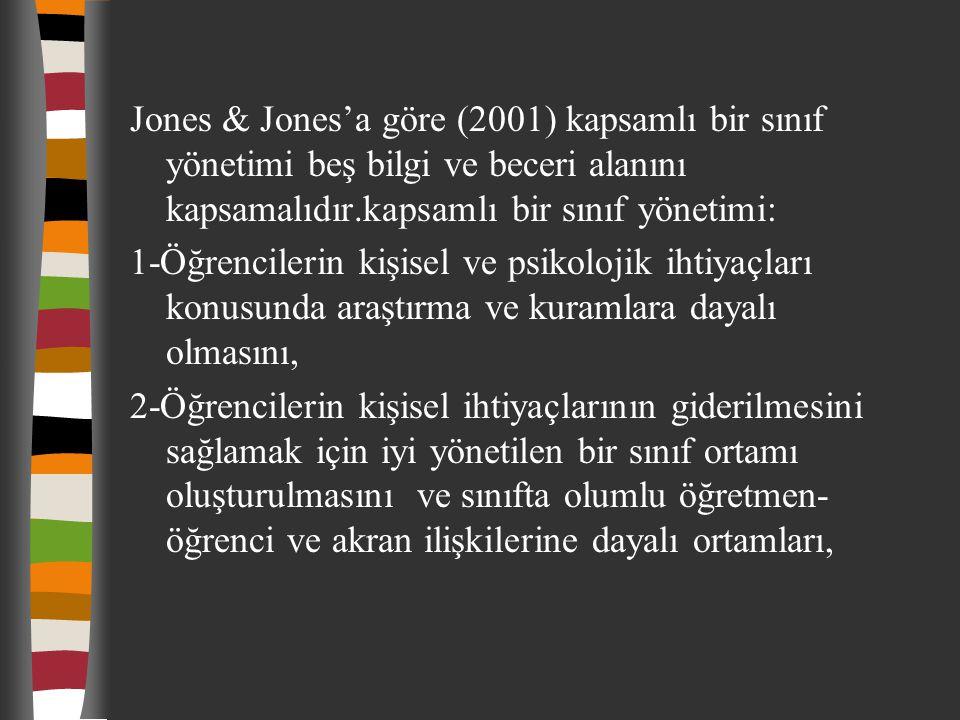 Jones & Jones'a göre (2001) kapsamlı bir sınıf yönetimi beş bilgi ve beceri alanını kapsamalıdır.kapsamlı bir sınıf yönetimi: 1-Öğrencilerin kişisel v