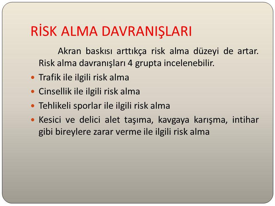 RİSK ALMA DAVRANIŞLARI Akran baskısı arttıkça risk alma düzeyi de artar. Risk alma davranışları 4 grupta incelenebilir. Trafik ile ilgili risk alma Ci
