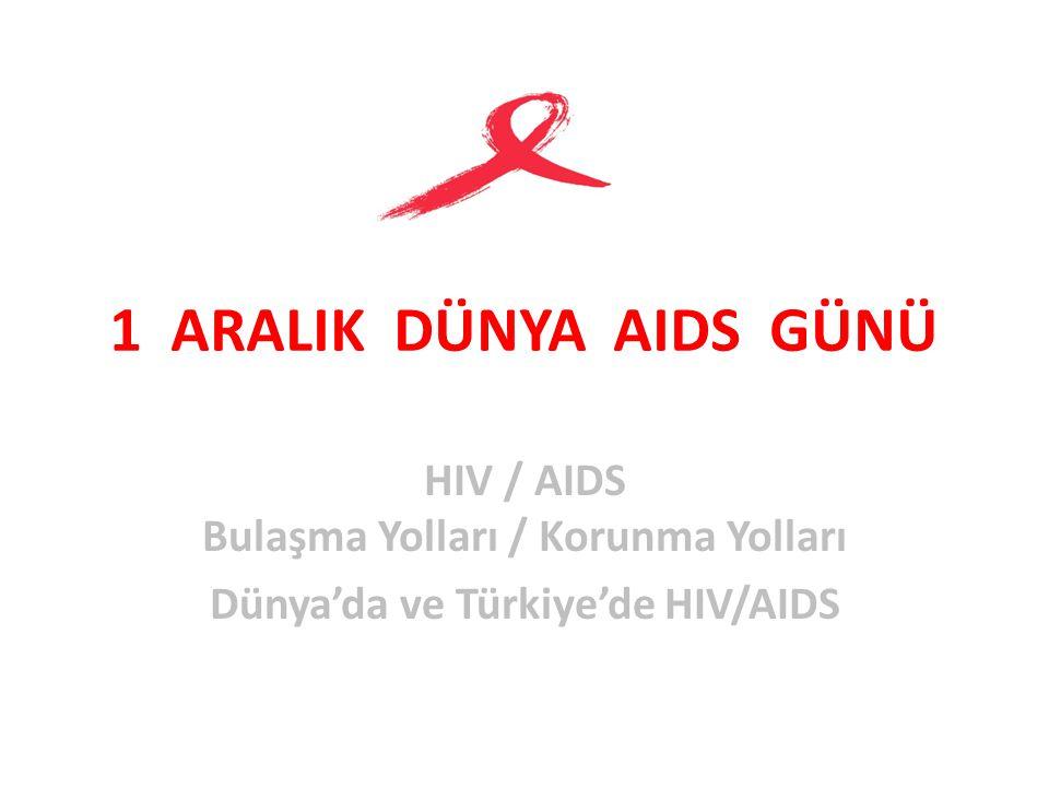 1 ARALIK DÜNYA AIDS GÜNÜ HIV / AIDS Bulaşma Yolları / Korunma Yolları Dünya'da ve Türkiye'de HIV/AIDS
