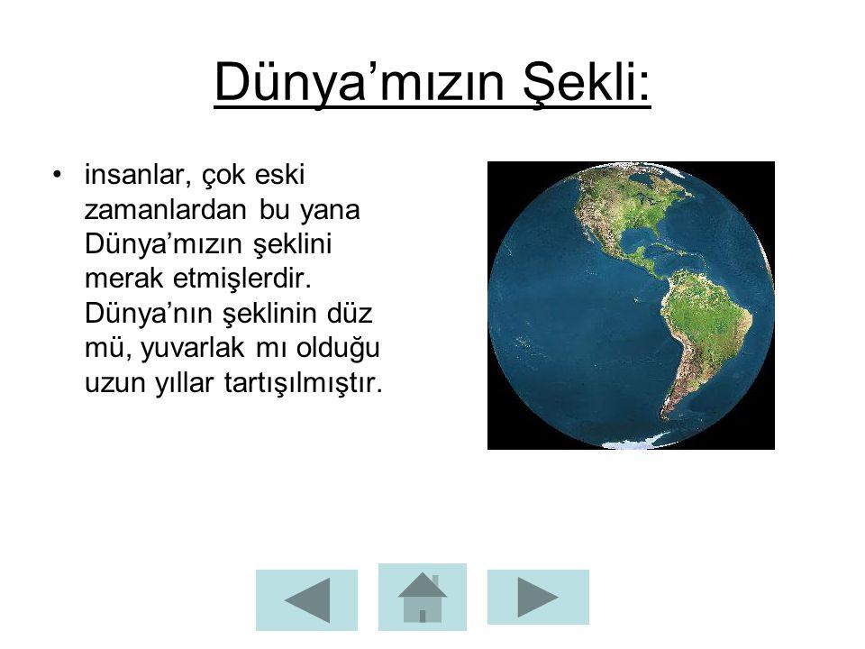 Dünya'mızın Şekli: insanlar, çok eski zamanlardan bu yana Dünya'mızın şeklini merak etmişlerdir. Dünya'nın şeklinin düz mü, yuvarlak mı olduğu uzun yı