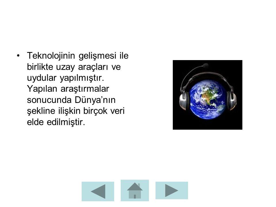 Teknolojinin gelişmesi ile birlikte uzay araçları ve uydular yapılmıştır. Yapılan araştırmalar sonucunda Dünya'nın şekline ilişkin birçok veri elde ed