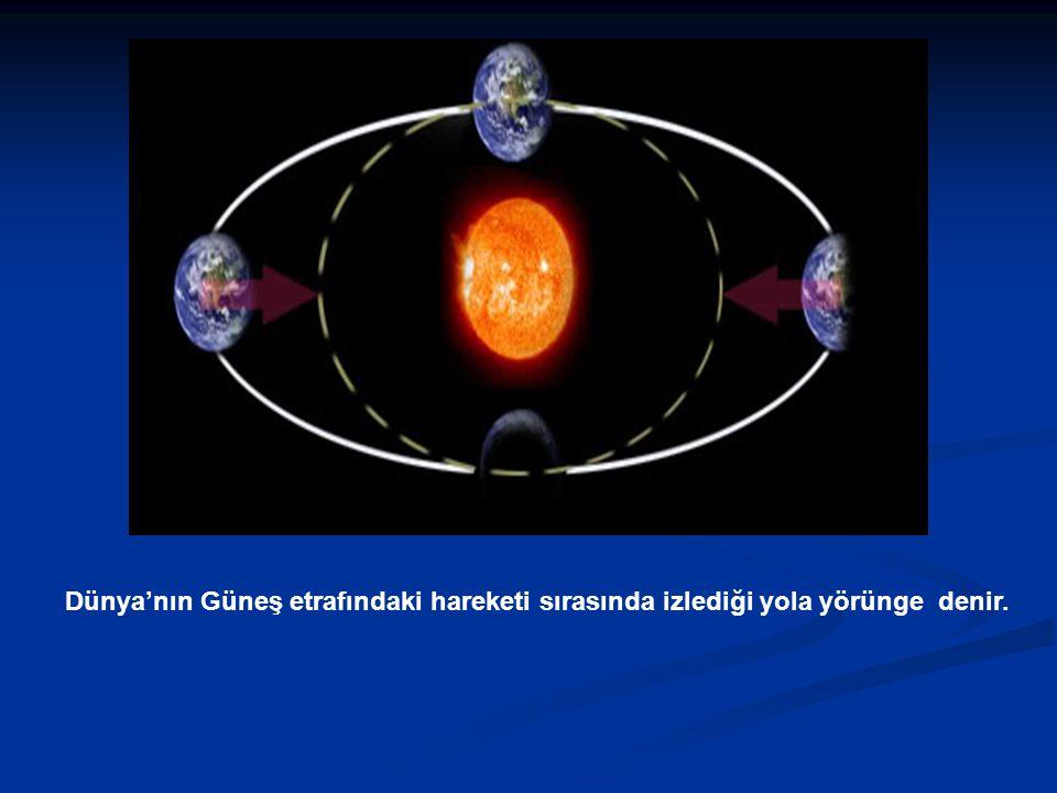 Dünya'nın Güneş etrafındaki hareketi sırasında izlediği yola yörünge denir.