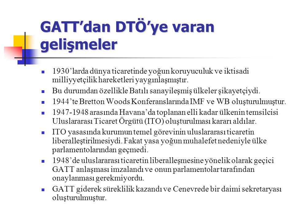 GATT'dan DTÖ'ye varan gelişmeler 1930'larda dünya ticaretinde yoğun koruyuculuk ve iktisadi milliyyetçilik hareketleri yaygınlaşmıştır. Bu durumdan öz