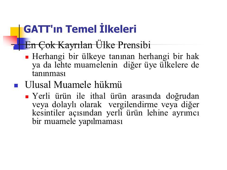 GATT'ın Temel İlkeleri En Çok Kayrılan Ülke Prensibi Herhangi bir ülkeye tanınan herhangi bir hak ya da lehte muamelenin diğer üye ülkelere de tanınma
