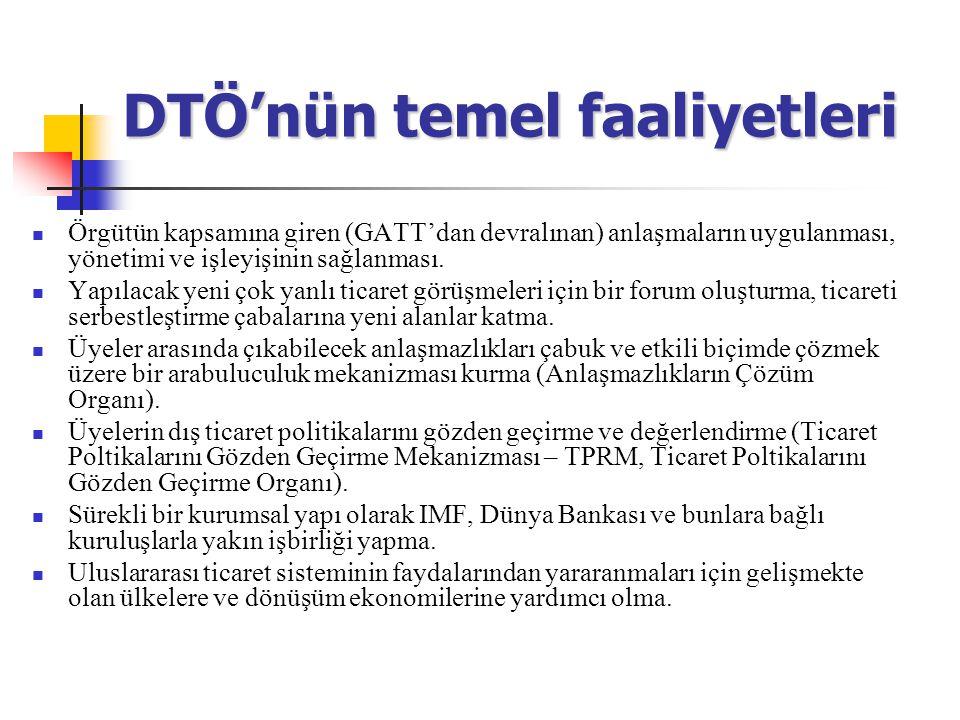 DTÖ'nün temel faaliyetleri Örgütün kapsamına giren (GATT'dan devralınan) anlaşmaların uygulanması, yönetimi ve işleyişinin sağlanması. Yapılacak yeni