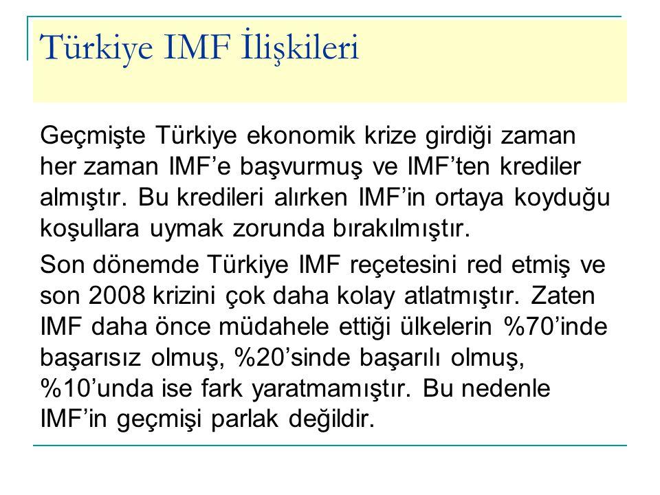 Türkiye IMF İlişkileri Geçmişte Türkiye ekonomik krize girdiği zaman her zaman IMF'e başvurmuş ve IMF'ten krediler almıştır. Bu kredileri alırken IMF'