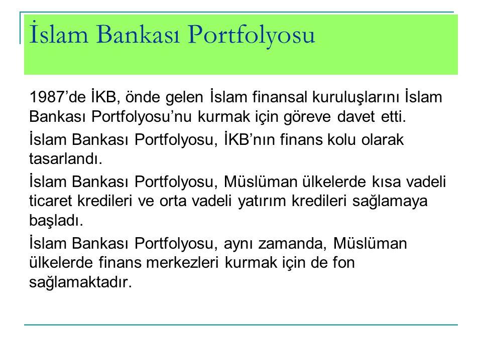 İslam Bankası Portfolyosu 1987'de İKB, önde gelen İslam finansal kuruluşlarını İslam Bankası Portfolyosu'nu kurmak için göreve davet etti. İslam Banka