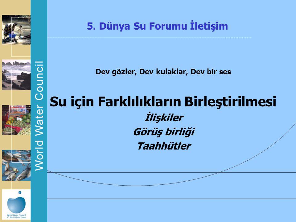 5. Dünya Su Forumu İletişim Dev gözler, Dev kulaklar, Dev bir ses Su için Farklılıkların Birleştirilmesi İlişkiler Görüş birliği Taahhütler