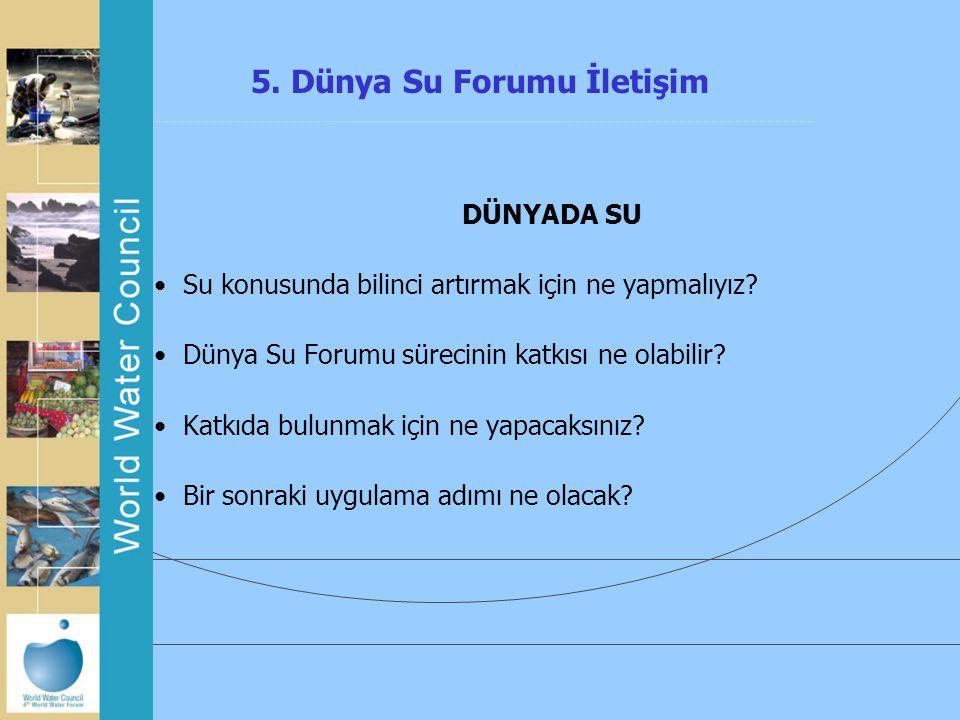 5. Dünya Su Forumu İletişim DÜNYADA SU Su konusunda bilinci artırmak için ne yapmalıyız? Dünya Su Forumu sürecinin katkısı ne olabilir? Katkıda bulunm