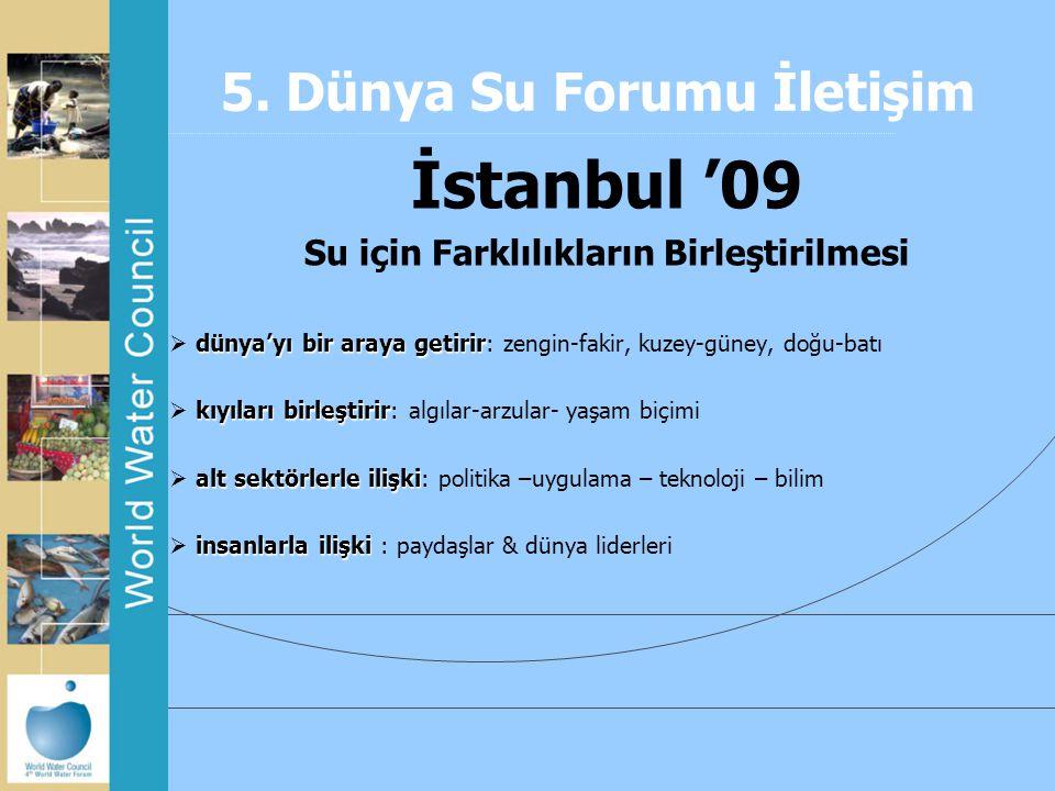 5. Dünya Su Forumu İletişim İstanbul '09 Su için Farklılıkların Birleştirilmesi dünya'yı bir araya getirir  dünya'yı bir araya getirir: zengin-fakir,