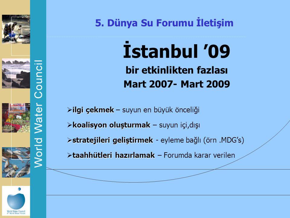 5. Dünya Su Forumu İletişim İstanbul '09 bir etkinlikten fazlası Mart 2007- Mart 2009 ilgi çekmek  ilgi çekmek – suyun en büyük önceliği koalisyon ol