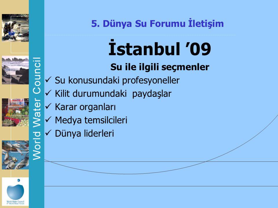5. Dünya Su Forumu İletişim İstanbul '09 Su ile ilgili seçmenler Su konusundaki profesyoneller Kilit durumundaki paydaşlar Karar organları Medya temsi