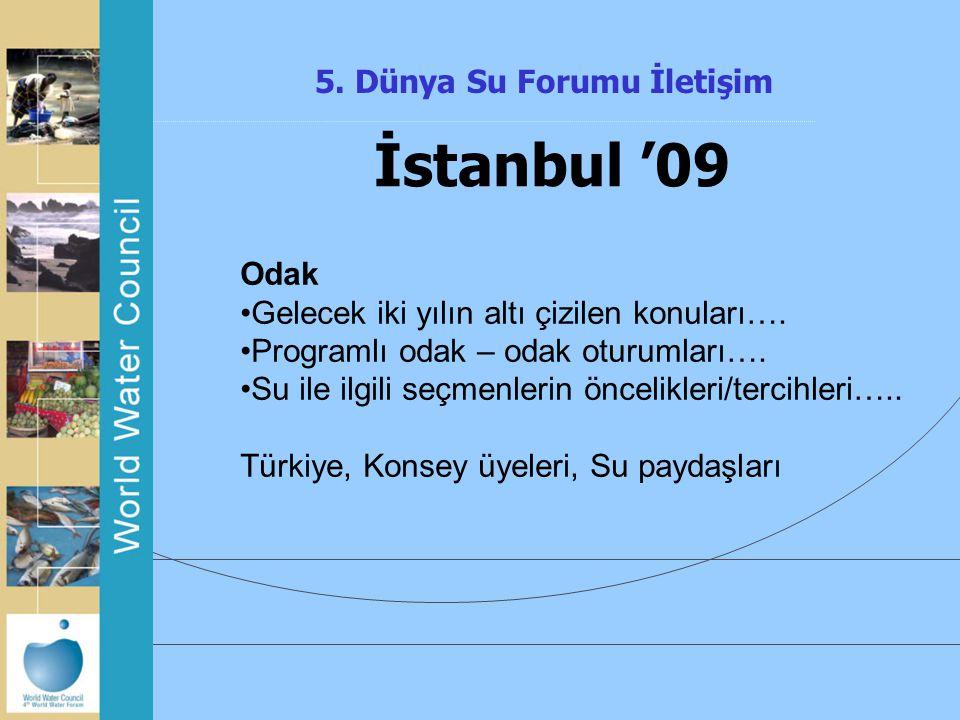 5. Dünya Su Forumu İletişim İstanbul '09 Odak Gelecek iki yılın altı çizilen konuları…. Programlı odak – odak oturumları…. Su ile ilgili seçmenlerin ö