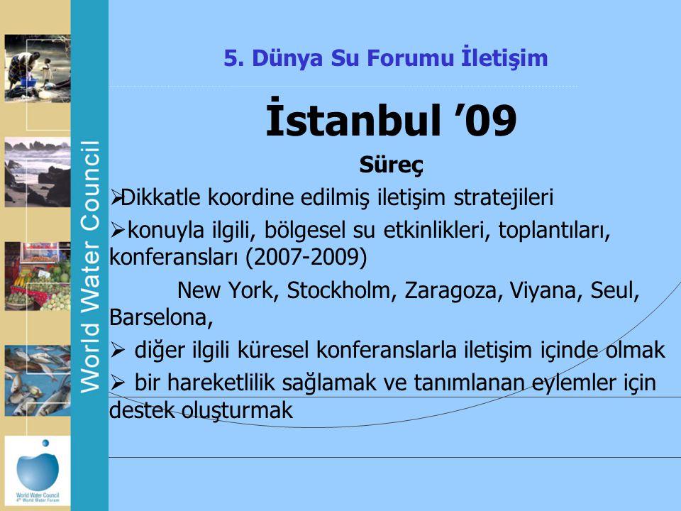 5. Dünya Su Forumu İletişim İstanbul '09 Süreç  Dikkatle koordine edilmiş iletişim stratejileri  konuyla ilgili, bölgesel su etkinlikleri, toplantıl