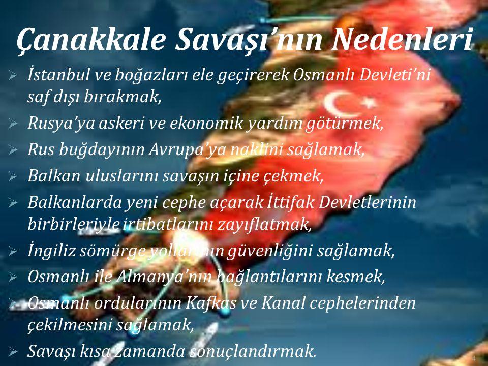 Çanakkale Savaşı'nın Nedenleri  İstanbul ve boğazları ele geçirerek Osmanlı Devleti'ni saf dışı bırakmak,  Rusya'ya askeri ve ekonomik yardım götürm