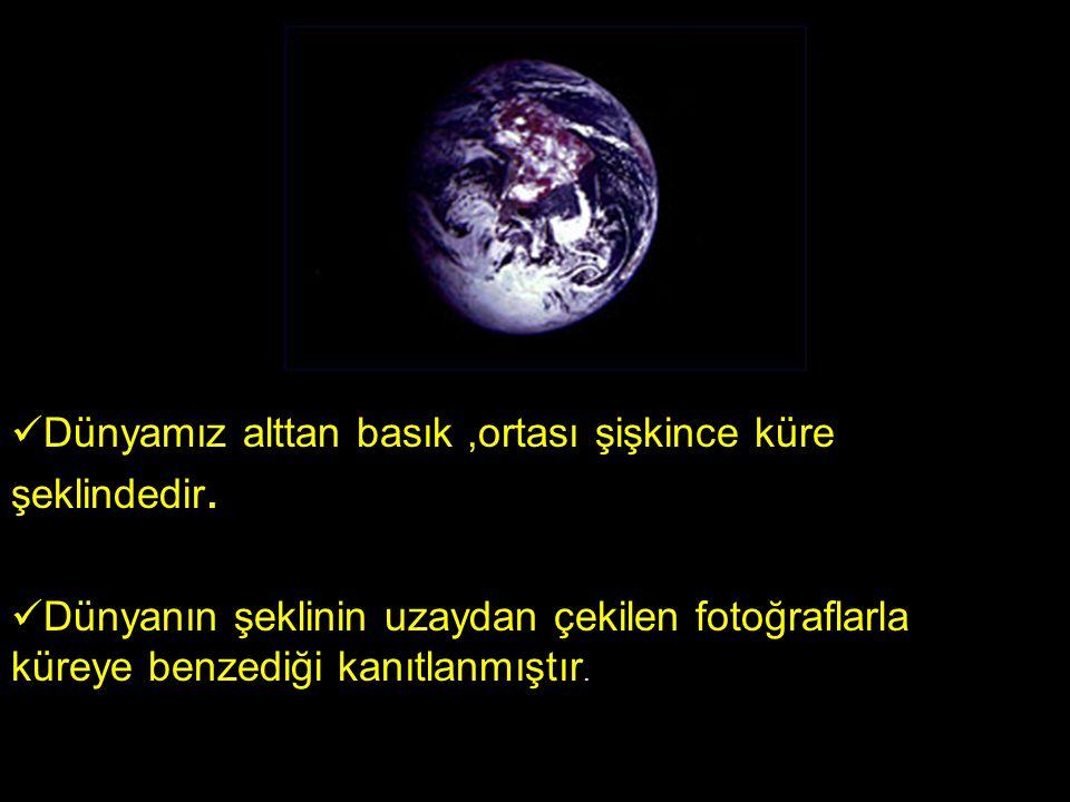 Dünyamız alttan basık,ortası şişkince küre şeklindedir.