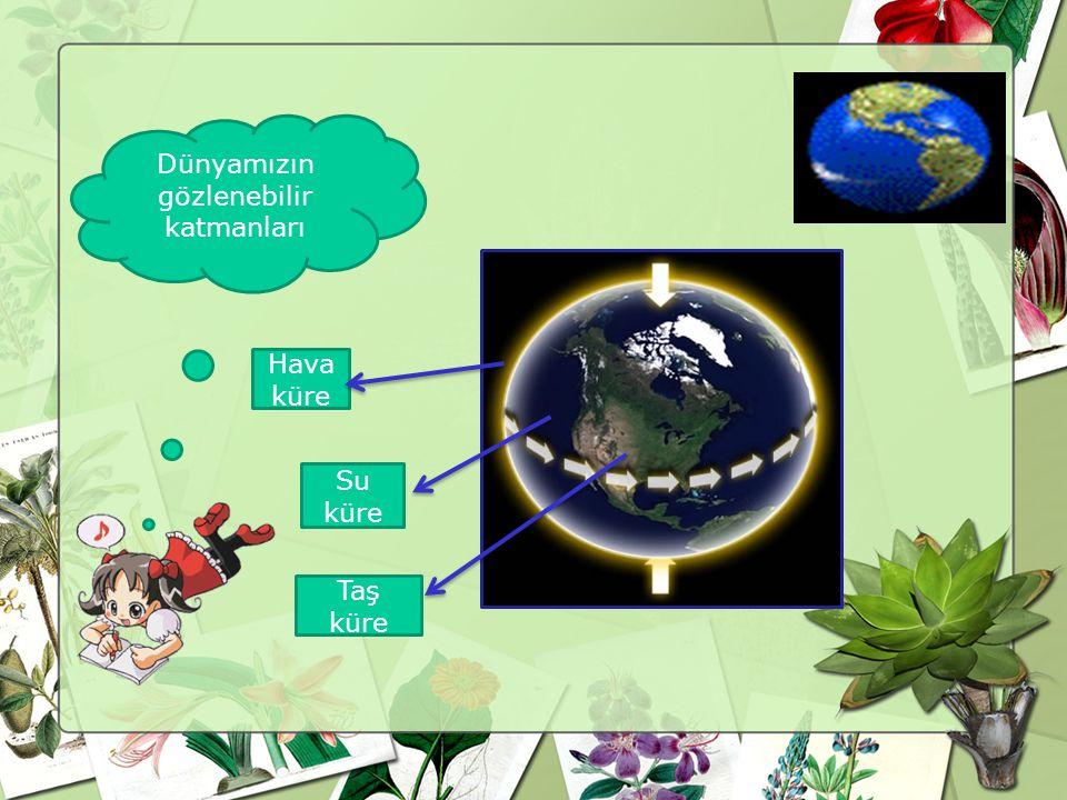 Dünyamızın gözlenebilir katmanları Su küre Hava küre Taş küre