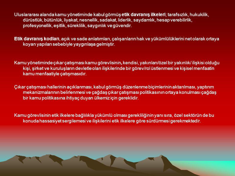 *Vekillere etik kurul geliyor Sabah Tarih: 23.05.2008Vekillere etik kurul geliyor *Etik ilkelerde uluslararası standartlar tartışılacak Stargazete.com Tarih: 20 Mayıs 2008Etik ilkelerde uluslararası standartlar tartışılacak * Sdü de Etik Hatıra Ormanı Oluşturuldu Haberler.com Tarih: 25 Nisan 2008 Sdü de Etik Hatıra Ormanı Oluşturuldu *25 Mayıs Etik Günü TNN Haber Tarih: 1 Nisan 200825 Mayıs Etik Günü *Etik Kurul Lojman Tahsisine El Koydu Son Dakika Tarih: 19 Şubat 2008Etik Kurul Lojman Tahsisine El Koydu *Etik Kurul, lojman problemine el koydu Zaman Gazetesi Tarih: 18 Şubat 2008Etik Kurul, lojman problemine el koydu *CHP; 'Bahşişçi Genel Müdür ün peşinde Sıcak Gündem Tarih:18 Şubat 2007 *Kamu Görevlileri Etik Kurulu: Bahşiş rüşvetin yolunu açar Hürriyet Gazetesi Tarih:14 Şubat 2008 *Kayıt dışı yolsuzluktur Star Gazetesi Tarih: 08.02.2008 *Başbakan: Yolsuzlukla mücadelemiz sürecek TGRT Haber Tarih: 08.02.2008 *Yolsuzluğun Önlenmesi İçin Etik Projesi...