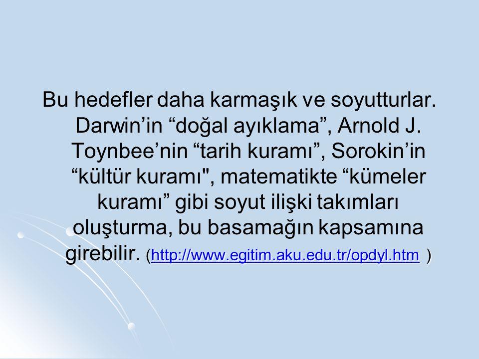 """http://www.egitim.aku.edu.tr/opdyl.htmhttp://www.egitim.aku.edu.tr/opdyl.htm ) Bu hedefler daha karmaşık ve soyutturlar. Darwin'in """"doğal ayıklama"""", A"""