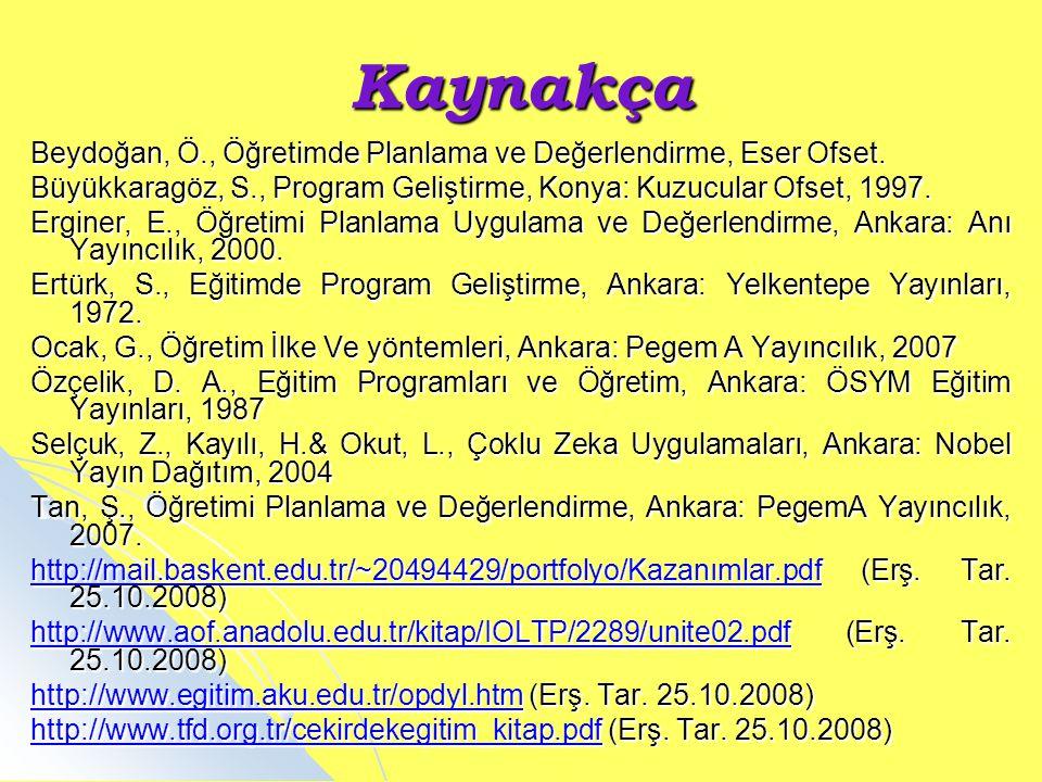 Kaynakça Beydoğan, Ö., Öğretimde Planlama ve Değerlendirme, Eser Ofset. Büyükkaragöz, S., Program Geliştirme, Konya: Kuzucular Ofset, 1997. Erginer, E