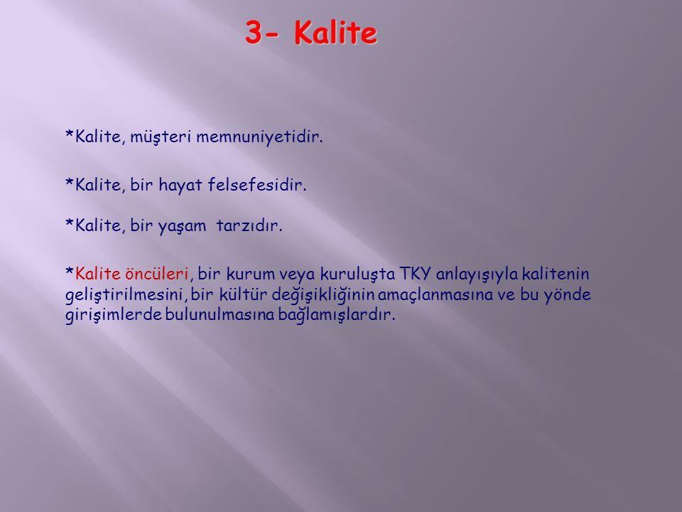 *Kalite, müşteri memnuniyetidir.*Kalite, bir hayat felsefesidir.