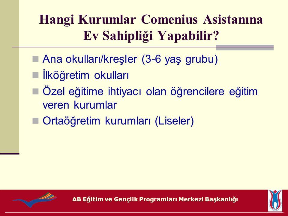 AB Eğitim ve Gençlik Programları Merkezi Başkanlığı Hangi Kurumlar Comenius Asistanına Ev Sahipliği Yapabilir? Ana okulları/kreşler (3-6 yaş grubu) İl