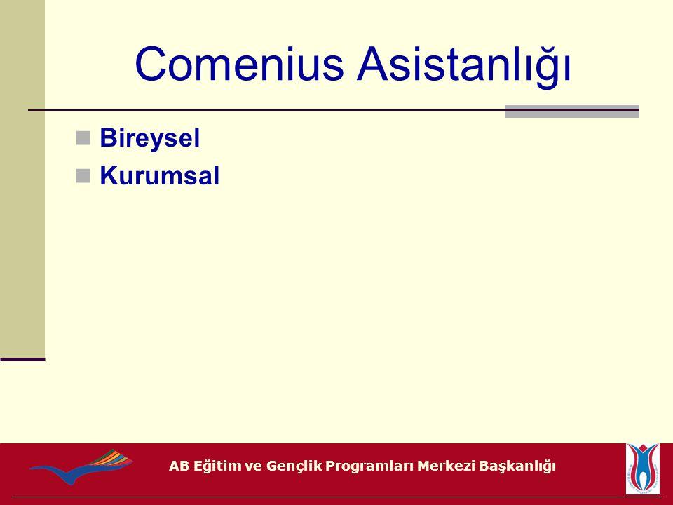 AB Eğitim ve Gençlik Programları Merkezi Başkanlığı Comenius Asistanlığı Bireysel Kurumsal