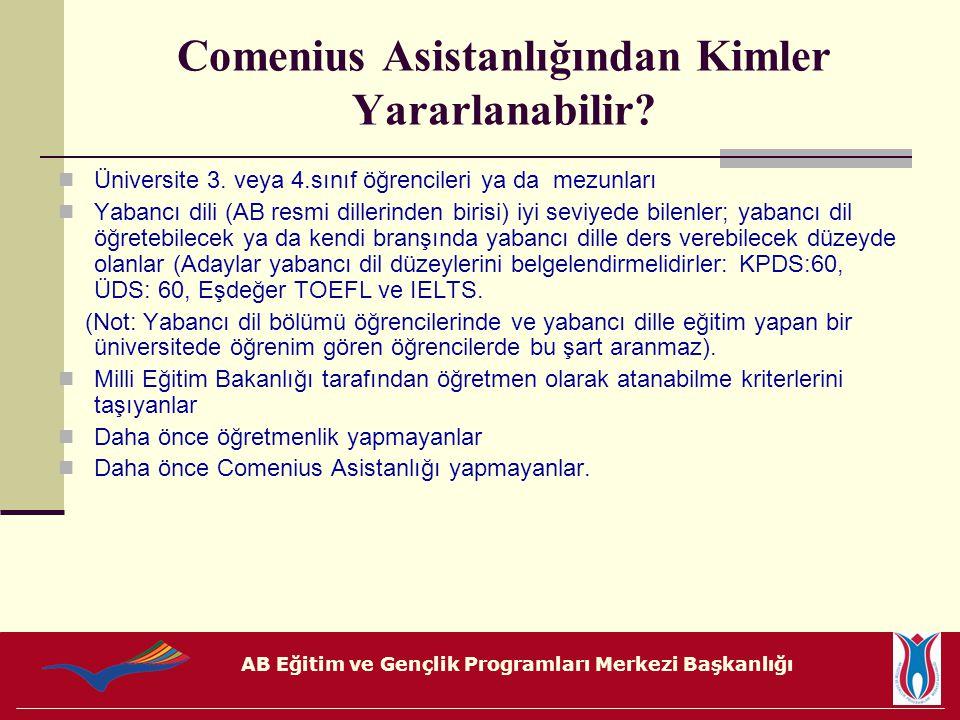 AB Eğitim ve Gençlik Programları Merkezi Başkanlığı Unutmayınız Comenius Asistanlığı çift yönlü bir süreçtir.
