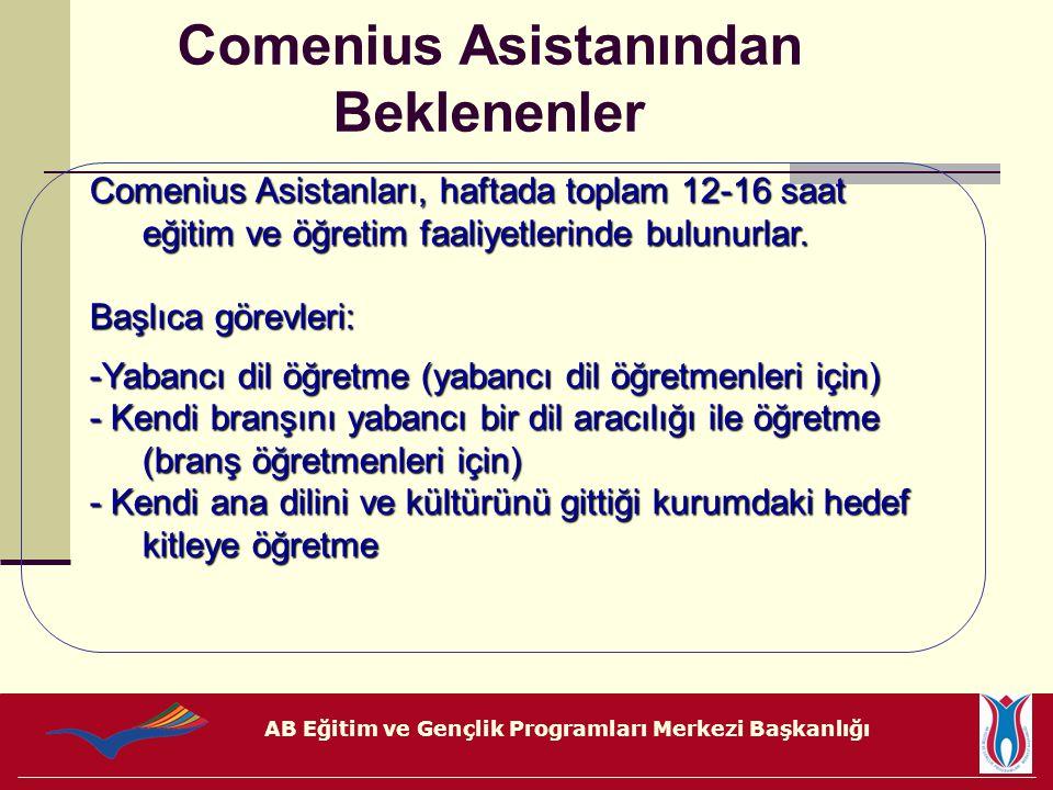 AB Eğitim ve Gençlik Programları Merkezi Başkanlığı Comenius Asistanları, haftada toplam 12-16 saat eğitim ve öğretim faaliyetlerinde bulunurlar. Başl