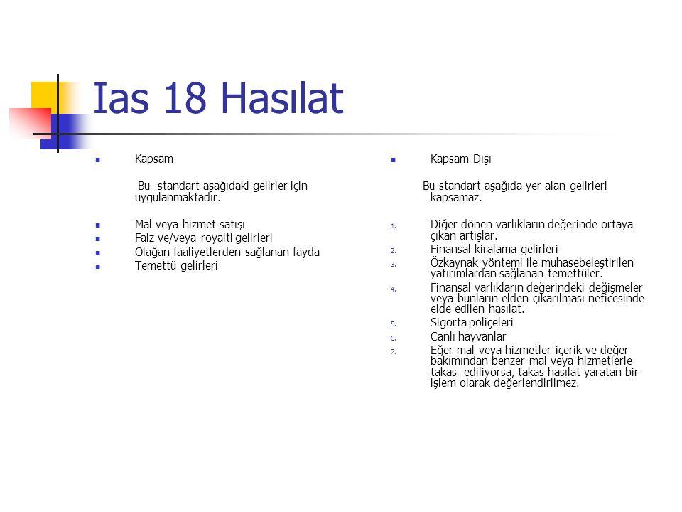Ias 18 Hasılat Kapsam Bu standart aşağıdaki gelirler için uygulanmaktadır. Mal veya hizmet satışı Faiz ve/veya royalti gelirleri Olağan faaliyetlerden