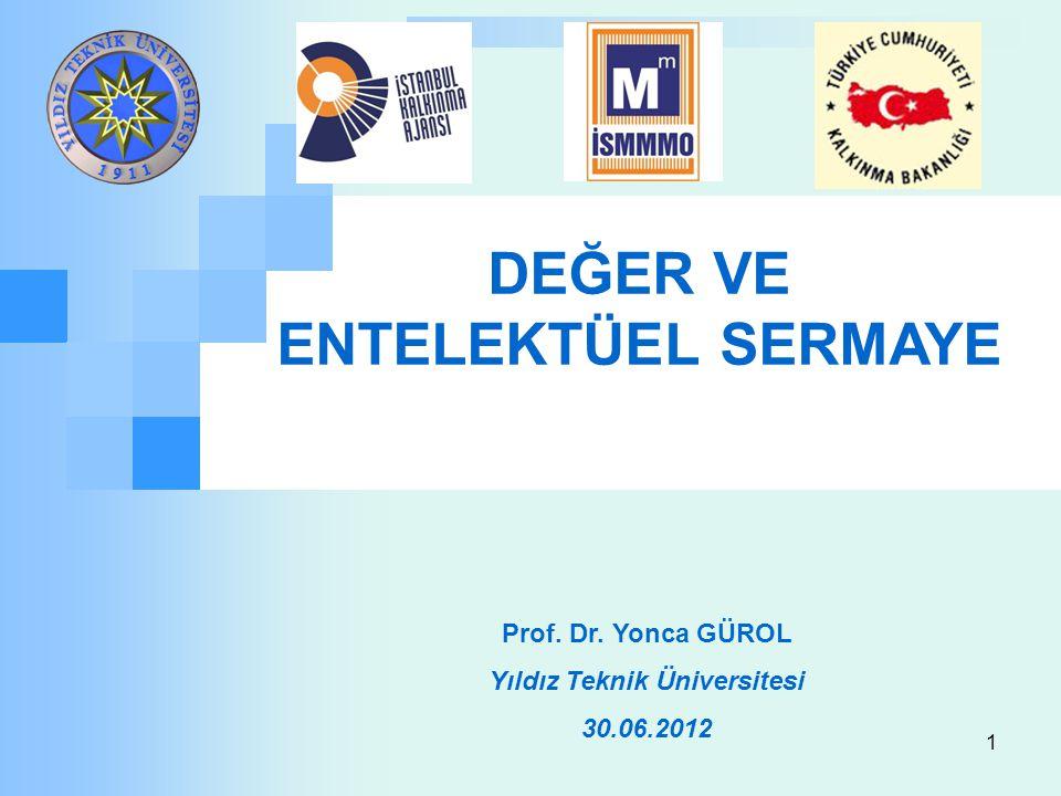 1 Prof. Dr. Yonca GÜROL Yıldız Teknik Üniversitesi 30.06.2012 DEĞER VE ENTELEKTÜEL SERMAYE