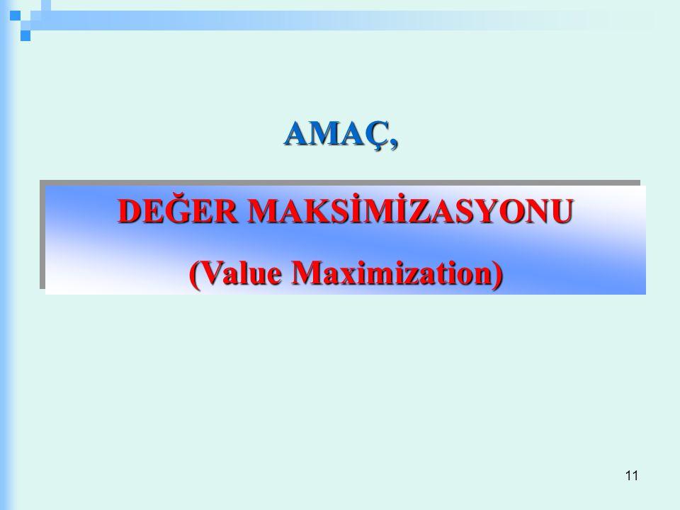 11 DEĞER MAKSİMİZASYONU (Value Maximization) DEĞER MAKSİMİZASYONU (Value Maximization) AMAÇ,