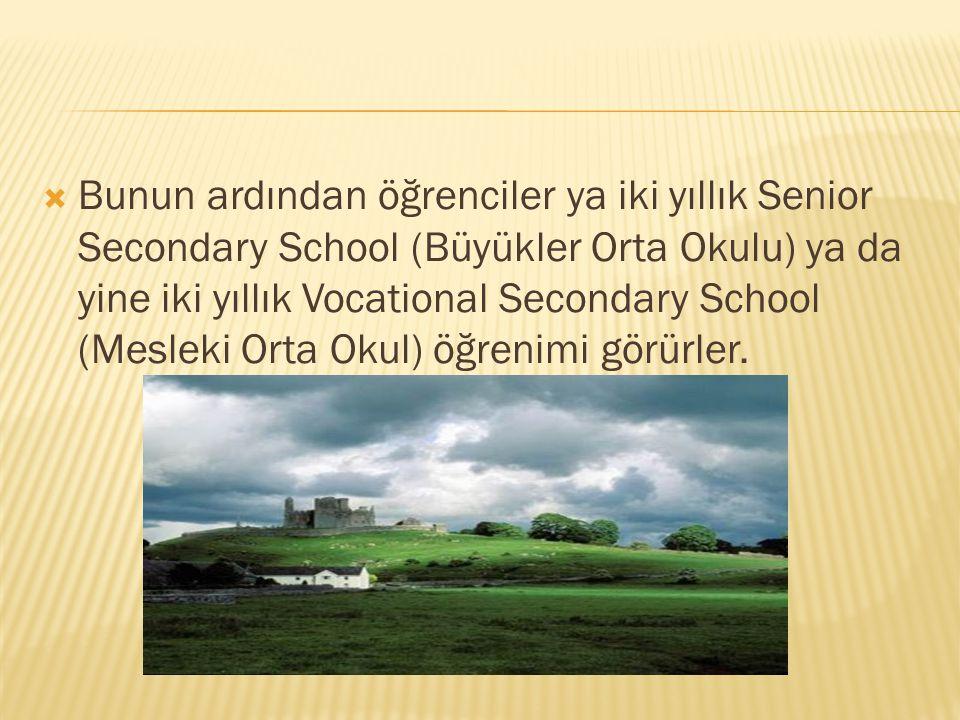  Bunun ardından öğrenciler ya iki yıllık Senior Secondary School (Büyükler Orta Okulu) ya da yine iki yıllık Vocational Secondary School (Mesleki Ort