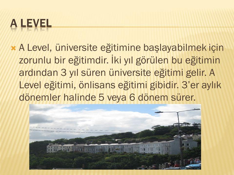  A Level, üniversite eğitimine başlayabilmek için zorunlu bir eğitimdir. İki yıl görülen bu eğitimin ardından 3 yıl süren üniversite eğitimi gelir. A