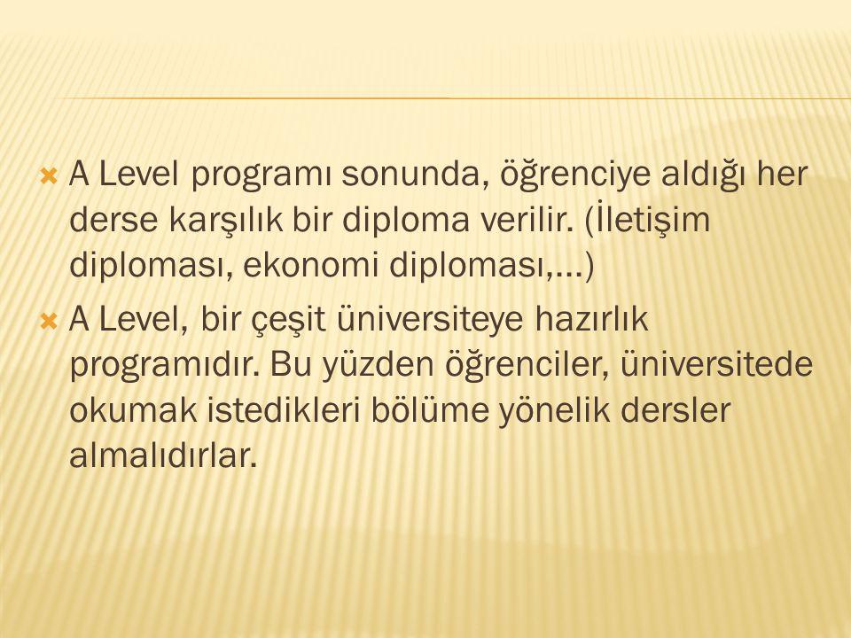  A Level programı sonunda, öğrenciye aldığı her derse karşılık bir diploma verilir. (İletişim diploması, ekonomi diploması,...)  A Level, bir çeşit