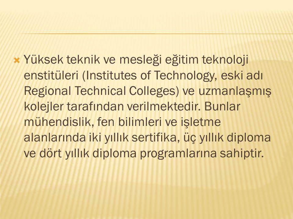  Yüksek teknik ve mesleği eğitim teknoloji enstitüleri (Institutes of Technology, eski adı Regional Technical Colleges) ve uzmanlaşmış kolejler taraf