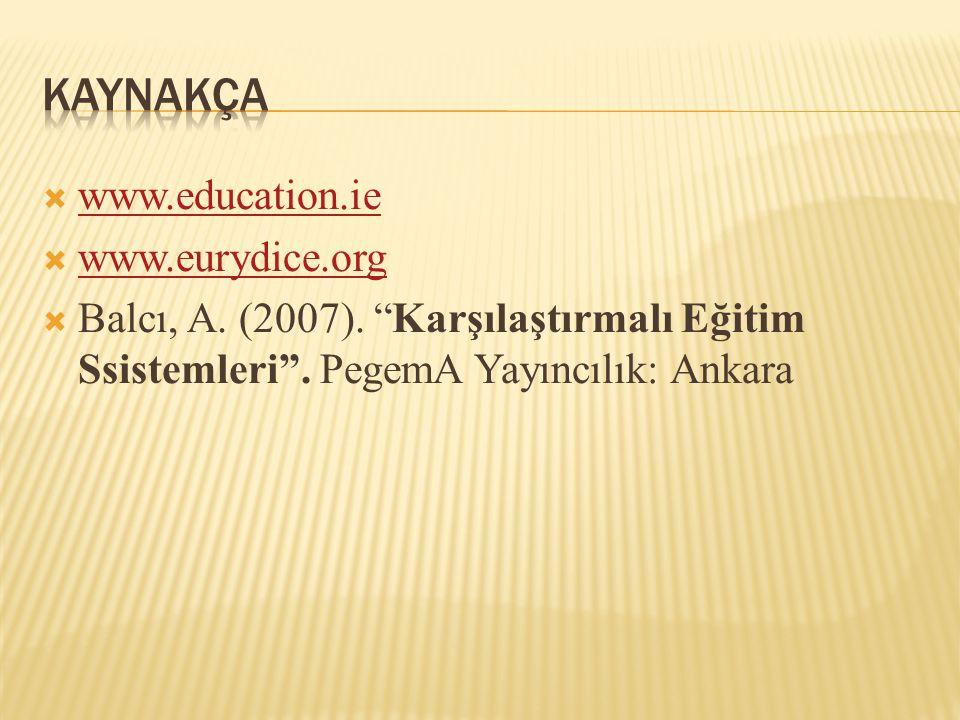 """ www.education.ie www.education.ie  www.eurydice.org www.eurydice.org  Balcı, A. (2007). """"Karşılaştırmalı Eğitim Ssistemleri"""". PegemA Yayıncılık: A"""