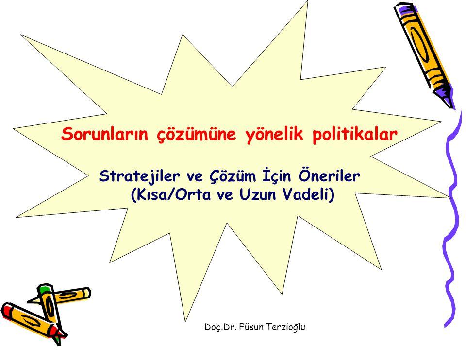 Doç.Dr. Füsun Terzioğlu Sorunların çözümüne yönelik politikalar Stratejiler ve Çözüm İçin Öneriler (Kısa/Orta ve Uzun Vadeli)