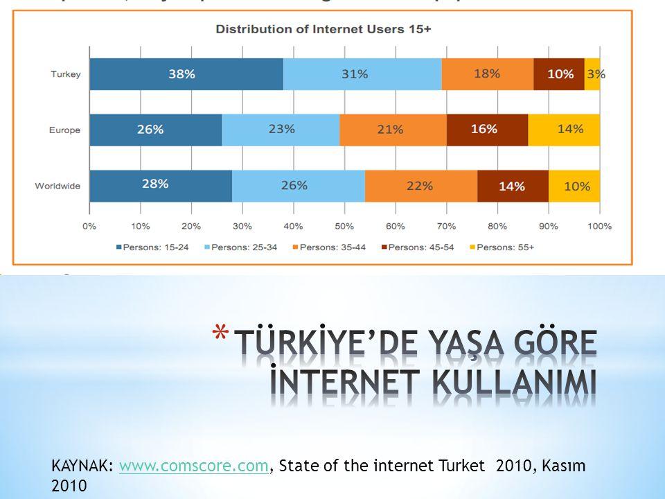 KAYNAK: www.comscore.com, State of the internet Turket 2010, Kasım 2010www.comscore.com