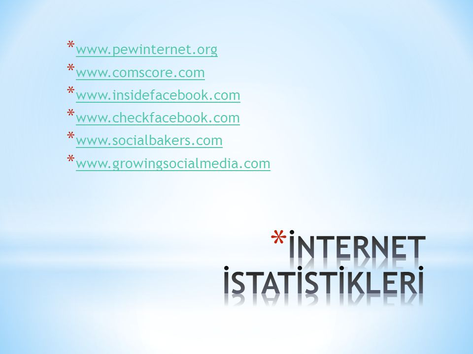 * www.pewinternet.org www.pewinternet.org * www.comscore.com www.comscore.com * www.insidefacebook.com www.insidefacebook.com * www.checkfacebook.com www.checkfacebook.com * www.socialbakers.com www.socialbakers.com * www.growingsocialmedia.com www.growingsocialmedia.com