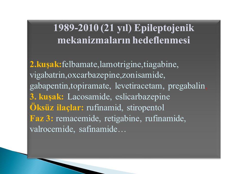 1989-2010 (21 yıl) Epileptojenik mekanizmaların hedeflenmesi 2.kuşak:felbamate,lamotrigine,tiagabine, vigabatrin,oxcarbazepine,zonisamide, gabapentin,topiramate, levetiracetam, pregabalin, 3.