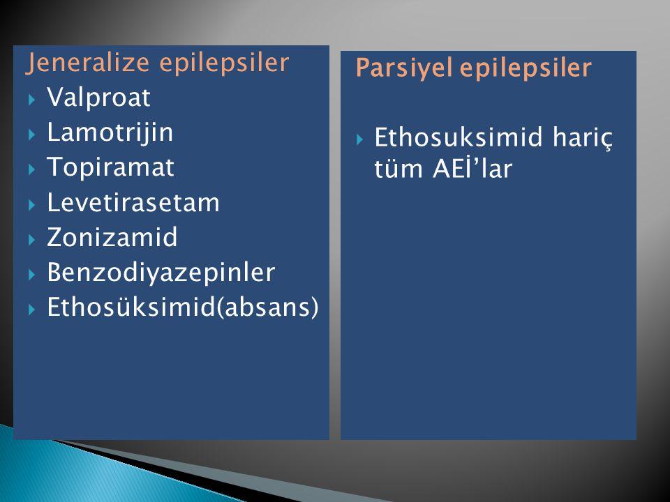 Jeneralize epilepsiler  Valproat  Lamotrijin  Topiramat  Levetirasetam  Zonizamid  Benzodiyazepinler  Ethosüksimid(absans) Parsiyel epilepsiler  Ethosuksimid hariç tüm AEİ'lar