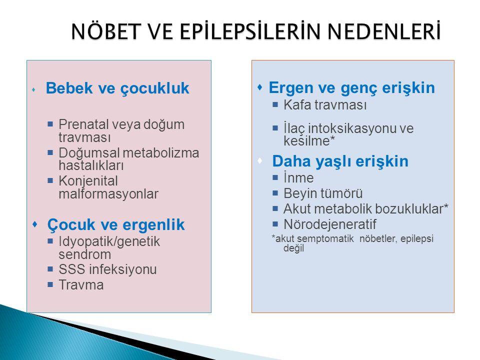  Bebek ve çocukluk  Prenatal veya doğum travması  Doğumsal metabolizma hastalıkları  Konjenital malformasyonlar  Çocuk ve ergenlik  Idyopatik/ge