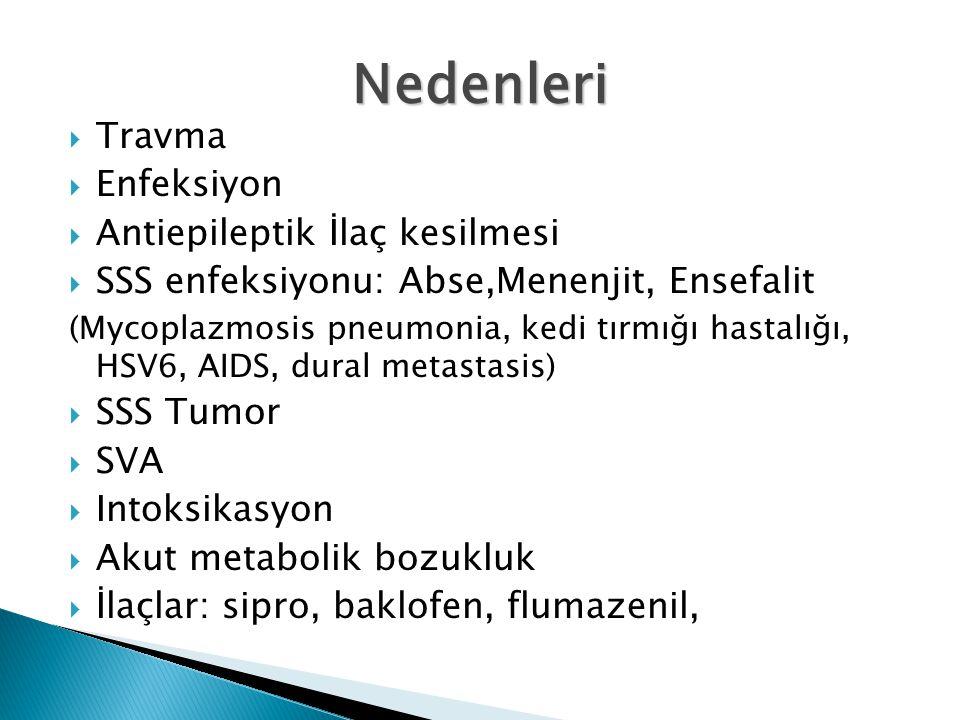  Travma  Enfeksiyon  Antiepileptik İlaç kesilmesi  SSS enfeksiyonu: Abse,Menenjit, Ensefalit (Mycoplazmosis pneumonia, kedi tırmığı hastalığı, HSV6, AIDS, dural metastasis)  SSS Tumor  SVA  Intoksikasyon  Akut metabolik bozukluk  İlaçlar: sipro, baklofen, flumazenil, Nedenleri
