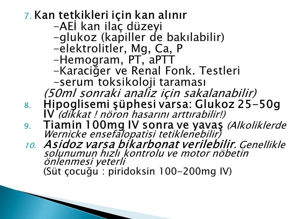 7. Kan tetkikleri için kan alınır -AEİ kan ilaç düzeyi -glukoz (kapiller de bakılabilir) -elektrolitler, Mg, Ca, P -Hemogram, PT, aPTT -Karaciğer ve R