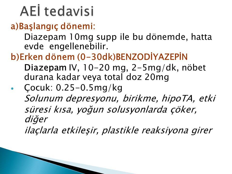 a)Başlangıç dönemi: Diazepam 10mg supp ile bu dönemde, hatta evde engellenebilir. b)Erken dönem (0-30dk)BENZODİYAZEPİN Diazepam IV, 10-20 mg, 2-5mg/dk