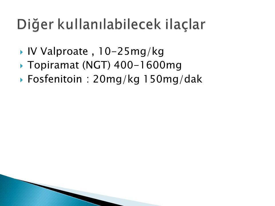  IV Valproate, 10-25mg/kg  Topiramat (NGT) 400-1600mg  Fosfenitoin : 20mg/kg 150mg/dak